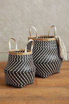 with some plants in it in the living room! Zigzag Stripe Baskets #anthropologie