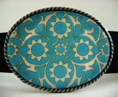 belt buckle for belts Turquoise Sunflower is wearable by MnMTreasures, $20.00