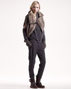 Mink Capelet, Silk Jumpsuit & Long Jersey-Leather Gloves by Brunello Cucinelli at Neiman Marcus.
