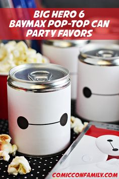 Free printable labels for making your own Baymax Pop-Top Can Party Favors for a Big Hero 6 movie night or party! #BigHero6MovieNight #ad