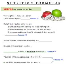 Nutrition Formulas: How many calories, fat, sugar grams should YOU eat?  Use these formulas to figure it out. FREE!!
