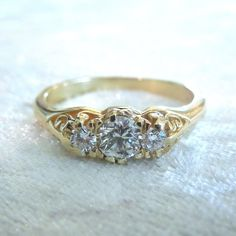 Fine Vintage Diamond Ring in Yellow Gold by AJMartinJewelry, $1450.00