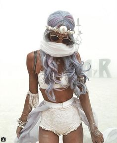 pastel violet hair + white lace 2 piece sets boho caravan princess burning man festival boho outfits fantasy looks