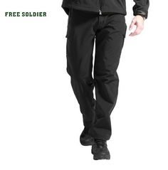 FREE SOLDIER Waterproof and Windproof Climbing and Hiking Pants For Men Softshell Fleece Outdoor Sport Tactical