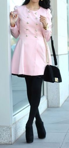 Pink Long Trench Coat <3 i love this whole outfit