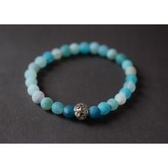 Blue Frosted Fire Agate Bracelet Stretch Bracelet Natural Stone... (€37) ❤ liked on Polyvore featuring jewelry, bracelets, agate bangle, blue agate jewelry, silver jewelry, boho bangles and silver gemstone jewelry