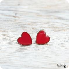 Post earrings  Red Hearts by Dariami on Etsy, $18.00