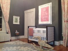 I'm loving the grey walls with pink accents.