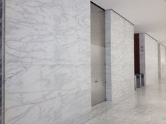 Caldia marble wall panels in a recently remodeled lobby in NYC