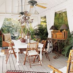 """""""Out of Africa"""" style porch: a covered patio furnished in the British Colonial style West Indies Style, Key West Style, Outdoor Rooms, Outdoor Living, Outdoor Decor, Outdoor Kitchens, Outdoor Patios, Outdoor Cabana, Outdoor Curtains"""