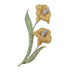 Calla Lily brooch Gold Colored Stones | Floral | Pins & Brooches | Jewelry | ScullyandScully.com