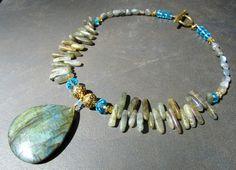 Labradorite Statement Necklace Gold Aqua Flash by PrairieIce