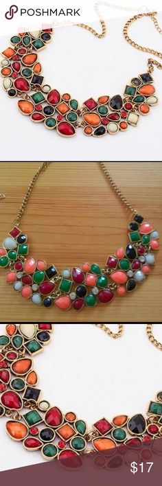 Trendy 👼🏻 Singaporean  Mosaic Pattern Necklace Quality multi-color necklace 🎉  with sequence mosaic geometry pattern. Filled with beautiful color and Fashion diamonds. I bet it's more beautiful than the picture. Maheroo Jewelry Necklaces