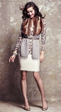 go sophisticated animal print with fur and pencil skirt