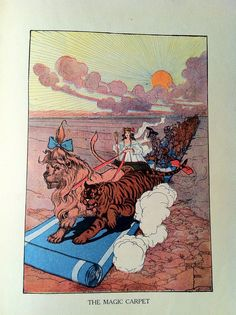 Ozma of Oz rides the magic carpet.