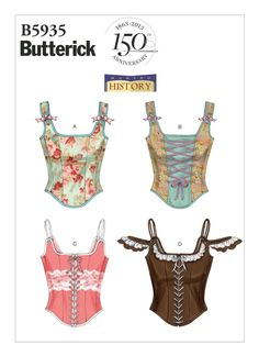 Diy Corset, Motif Corset, Corset Sewing Pattern, Butterick Sewing Patterns, Easy Sewing Patterns, Vogue Patterns, Clothing Patterns, Vintage Sewing Patterns, Fashion Patterns