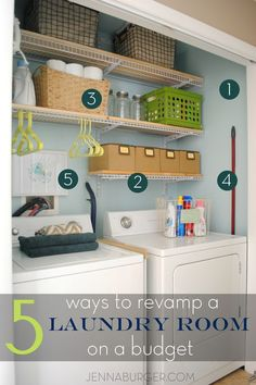 5 ways + tips for revamping a laundry room on a budget. See how I transformed my laundry space in one weekend for $200!