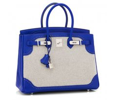 Hermes Blue Sapphire Ghillies 35cm Swift Ecru Graphite Criss Cross Toile Limited Birkin