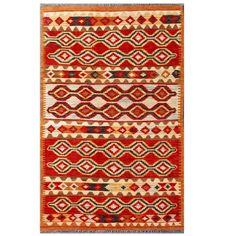 Herat Oriental Afghan Hand-woven Tribal Kilim / Tan Rug