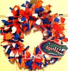 Florida Gator Football Rag Wreath by StokedDesigns on Etsy
