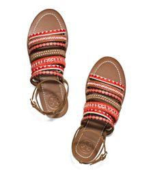 Poppy Red Multi Tory Burch Mixed-trims Flat Sandal
