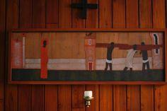 Stacja V - Szymon z Cyreny pomaga dźwigać krzyż Jezusowi