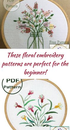 These embroidery patterns are downloadable & only require 4 basic stitches, so they're perfect for beginners! #ad | embroidery | embroidered | beginners | pdf patterns | downloadable