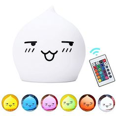 Amagle Remote Control Portable Adorable Silicone Night LightTouch Sensor Children Table LampWarm White Light  7Color Flashing USB Rechargeable Light ** Visit the image link more details. (This is an affiliate link) #HomeNurseryDecor