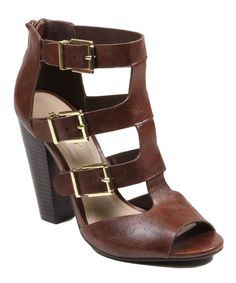 This Bamboo Brown Buckle Mash Sandal by Bamboo is perfect! #zulilyfinds