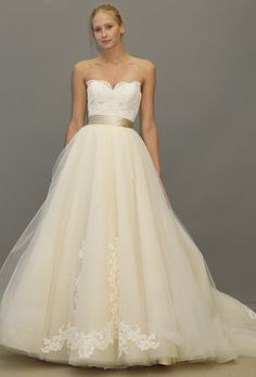 Brides: Lazaro - Fall 2012. Strapless antique ivory lace and organza A-line wedding dress with a sweetheart neckline, Lazaro
