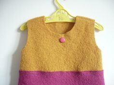 wool felt color block dress