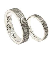 Sterling Silver Custom Fingerprint Wedding Bands: $590; etsy.com #weddingring #nontraditionalbride #engagementring