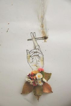 Flowers & Drawing of a hand holding a spliff...