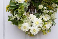 green & white wreath! NEED floral wreaths at the wedding. very martha stewart circa 1984.