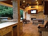 Poolside Covered Outdoor Fireplace Kitchen And Entertainment Area Backyard Kitchen Patio Backyard Patio