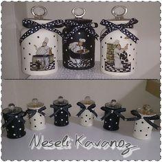 www.facebook.com/neselikavanoz Diy Jewlery Box, Decoupage Jars, Glass Bottle Crafts, Church Crafts, Painted Jars, Country Crafts, Bottle Painting, Jar Gifts, Mason Jar Crafts