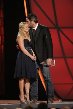 "Miranda Lambert and Blake Shelton receive the award for Song of the Year for ""Over You"""