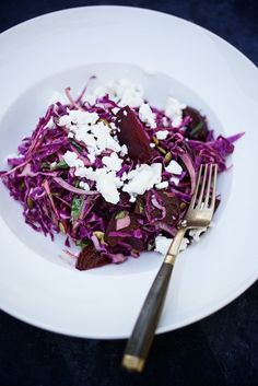 Ruby salad with crumbled feta and spicy pepitas.  So pretty!