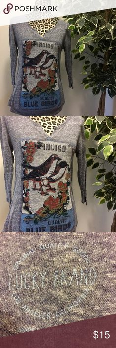 🎄LUCKY BRAND Gray V-neck Shirt With Birds🎄 Oversized Lucky Brand Gray Long Sleeve Tee. It Says XS, But Fits More Like A Larger Small To Almost Medium. New Condition. 🚫No Trades 🎉I'm Always Willing To Consider Any Reasonable Offers Through The Offer Button Only Please Lucky Brand Tops Tees - Long Sleeve