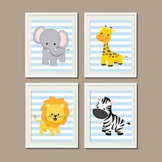 JUNGLE Nursery Wall Art ELEPHANT Giraffe Lion door LovelyFaceDesigns