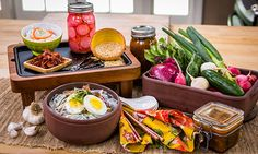 cucumber kimchi, radish pickle recipe and Naeng-Myeon ice-cold noodles - buckwheat-sweet potato noodles. healthy korean food.  Home & Family - Recipes - Korean Food Made Simple With Judy Joo | Hallmark Channel http://hallmarkchannel.com/homeandfamily/recipe/koreanfoodmadesimplewithjudyjoo