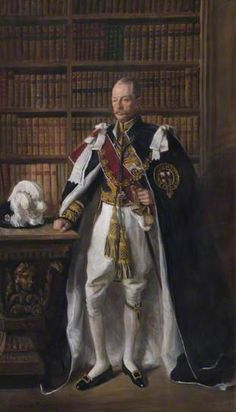 Right Honourable Edward William Spencer (1895–1950), 10th Duke of Devonshire, 1950 by Oswald Birley (1880-1952) In this portrait the sitter is wearing the robes of the Order of the Garter, the highest chivalric order in the United Kingdom. He is standing in the library at Chatsworth House in Derbyshire, the country seat of the Dukes of Devonshire.