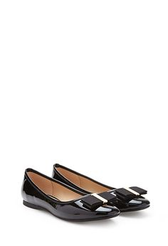 Faux Patent Leather Bow Flats | FOREVER21 - 2052739266 $23