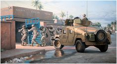 As one of the foremost historical artists, Larry Selman combines personal passion, unsurpassed talent, incredible attention to detail, and extraordinary authenticity in each painting. Military Personnel, Military Vehicles, Guerra Anime, Airsoft, Military Drawings, Military Armor, Military Pictures, Iraq War, Modern Warfare