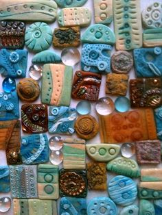 "polymer clay and salt dough ""inchie"" tiles - by ernestine"