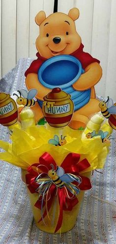 Extra Large Winnie the Pooh Centerpiece with by SOUTHFLOWER Winne The Pooh, Winnie The Pooh Themes, Winnie The Pooh Birthday, Bear Birthday, Baby 1st Birthday, Pooh Bebe, Baby Shower Centerpieces, Birthday Party Centerpieces, Baby Shower Decorations