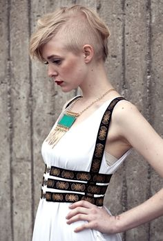 Elastic Harness -  Black and gold printed - S/M. $49.00, via Etsy.