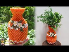 Paper flower vase tutorial , home decoration idea | 3d origami flower vase v23 tutorial - YouTube