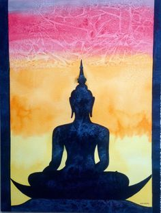 Buddha silhouette by Krishna KatariaClick the link now to find the center in you with our amazing selections of items ranging from yoga apparel to meditation space decor! Budha Painting, Buddha Drawing, Art Plastique, Hamsa, Indian Art, Painting Inspiration, Art Pictures, Watercolor Art, Art Drawings