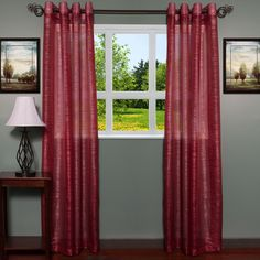 ContemporaryTextured Shimmer 55 inch x 84 Inch Grommet Curtain Panel 2-piece Set (burgundy), Red, Size 55 x 84 (Polyester, Solid)